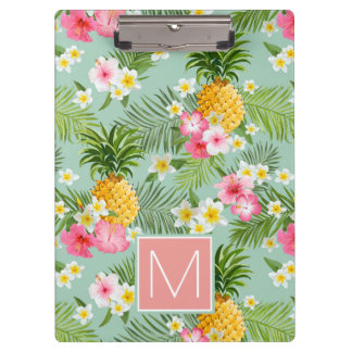 Tropical Flowers & Pineapples | Add Your Initial Clipboard