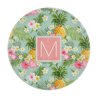 Tropical Flowers & Pineapples | Add Your Initial Cutting Board