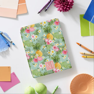 Tropical Flowers & Pineapples | Add Your Initial iPad Cover