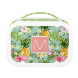 Tropical Flowers & Pineapples | Add Your Initial Lunch Box