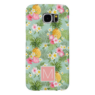 Tropical Flowers & Pineapples | Add Your Initial Samsung Galaxy S6 Cases