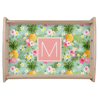 Tropical Flowers & Pineapples | Add Your Initial Serving Tray