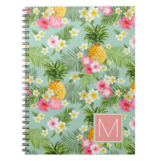 Tropical Flowers & Pineapples   Add Your Initial Spiral Notebook