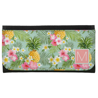 Tropical Flowers & Pineapples | Add Your Initial Wallets