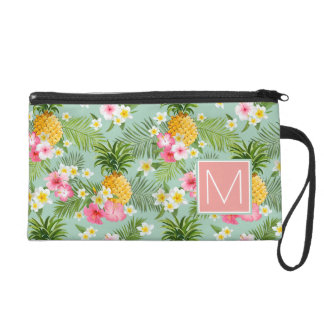 Tropical Flowers & Pineapples | Add Your Initial Wristlet
