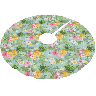 Tropical Flowers & Pineapples Brushed Polyester Tree Skirt