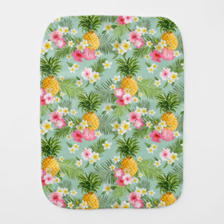 Tropical Flowers & Pineapples Burp Cloth