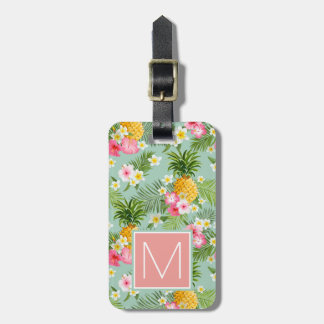 Tropical Flowers & Pineapples | Monogram Luggage Tag