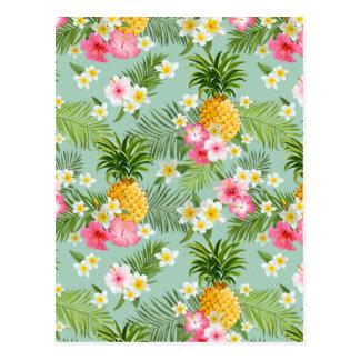 Tropical Flowers & Pineapples Postcard