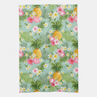 Tropical Flowers & Pineapples Tea Towel