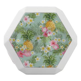 Tropical Flowers & Pineapples White Bluetooth Speaker