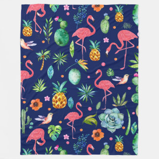 Tropical Flowers & Pink Flamingos Illustration Fleece Blanket