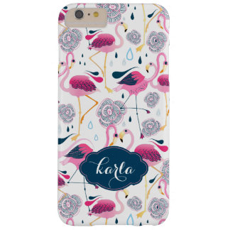 Tropical Flowers & Pink Flamingos Seamless Pattern Barely There iPhone 6 Plus Case