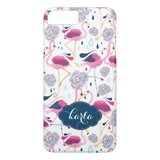 Tropical Flowers & Pink Flamingos Seamless Pattern iPhone 7 Plus Case