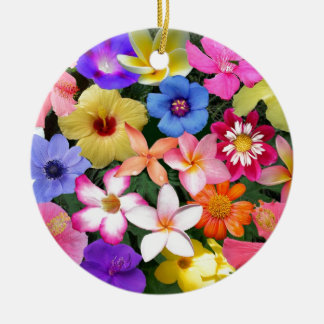 Tropical Flowers Round Ceramic Decoration