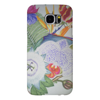 tropical flowers samsung galaxy s6 cases