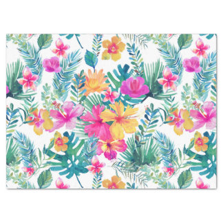 Tropical Flowers Watercolors Pattern Tissue Paper