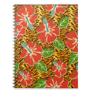 Tropical Flowers Wild Tiger Pattern Notebooks