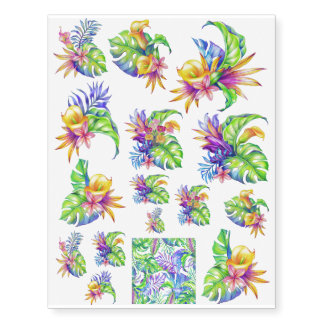 Tropical Foliage & Flowers Yellow Pink Green Blue