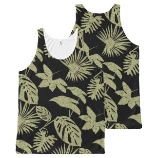 Tropical Foliage Green Batik Black Silhouette 2 All-Over Print Tank Top