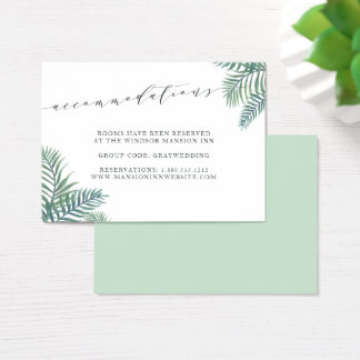 Tropical Foliage Wedding Hotel Accommodation Cards