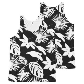Tropical Foliage White & Black Silhouette 2 All-Over Print Tank Top