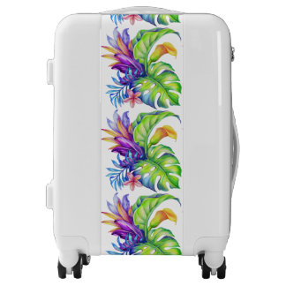 Tropical Foliage Yellow Pink Green Blue Lavender Luggage
