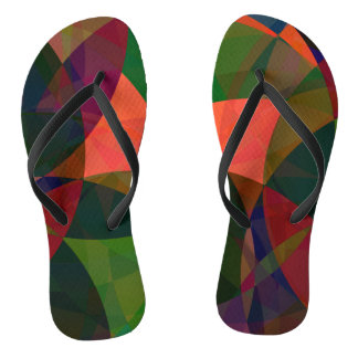 Tropical forest abstract flip flops