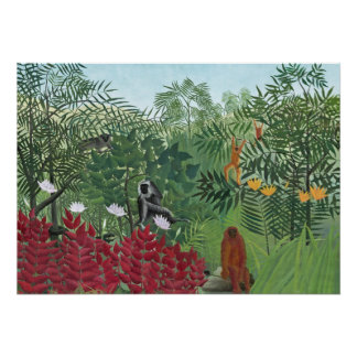 Tropical Forest with Monkeys, 1910 (oil on canvas) Poster