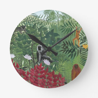 Tropical Forest with Monkeys, 1910 (oil on canvas) Wallclocks