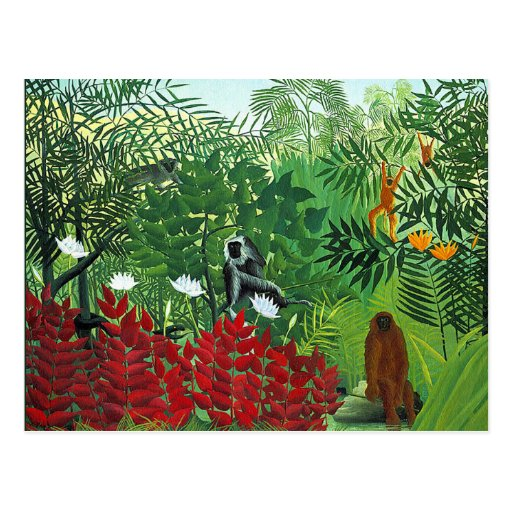 Tropical Forest with Monkeys Postcards