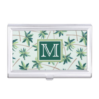 Tropical Foxtail Palm | Add Your Initial Business Card Holder