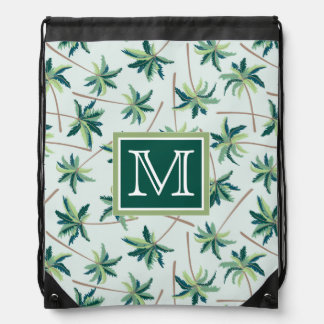 Tropical Foxtail Palm | Add Your Initial Drawstring Bag