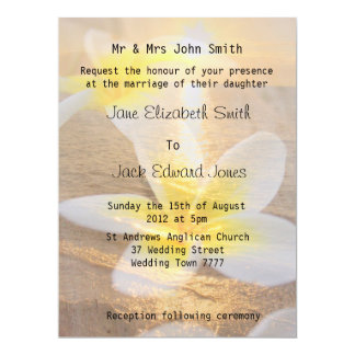 Tropical Frangipani Beach Wedding  Invitations