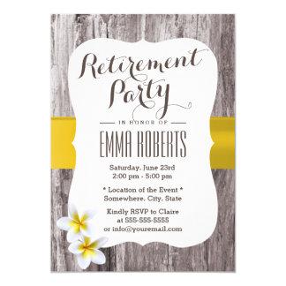 Tropical Frangipani Rustic Wood Retirement Party Card