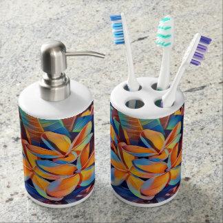 Tropical frangipanis bathroom set