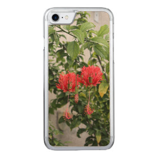 Tropical Fringed Coral Hibiscus Flower Carved iPhone 7 Case