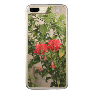 Tropical Fringed Coral Hibiscus Flower Carved iPhone 7 Plus Case