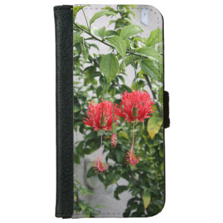Tropical Fringed Coral Hibiscus Flower iPhone 6 Wallet Case