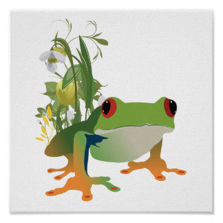 tropical frog vector design poster