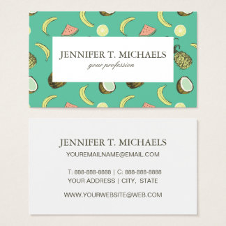 Tropical Fruit Doodle Pattern Business Card