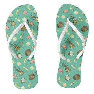 Tropical Fruit Doodle Pattern Flip Flops