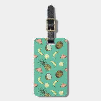 Tropical Fruit Doodle Pattern Luggage Tag