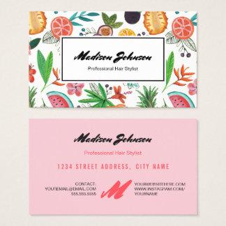 Tropical Fruit Monogram Custom   Business Cards
