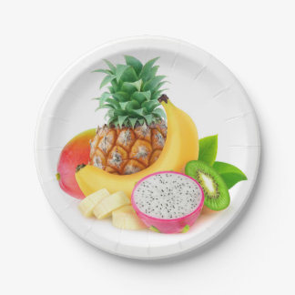 Tropical fruit paper plate