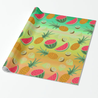 Tropical Fruit Pineapple Watermelon Wrapping Paper