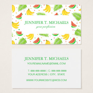 Tropical Fruit Polka Dot Pattern Business Card