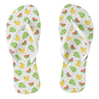 Tropical Fruit Polka Dot Pattern Flip Flops