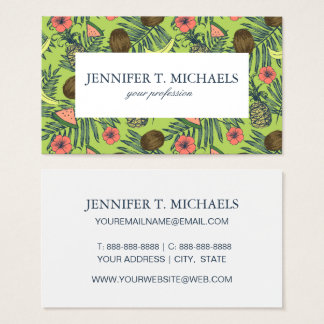 Tropical Fruit Sketch on Green Pattern Business Card