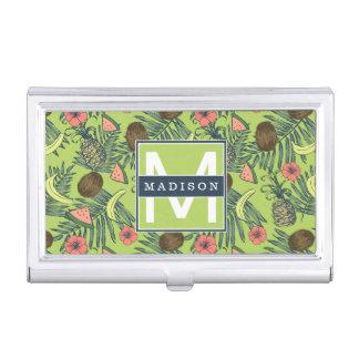 Tropical Fruit Sketch on Green Pattern Business Card Holder